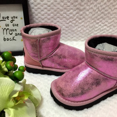 Cizme metalice roz imblanite de iarna fete copii piele eco 24 25 26 27 28 29 30, Din imagine