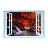 Cumpara ieftin Sticker decorativ efect 3D, 150 x 100 cm, padure rosie cascada