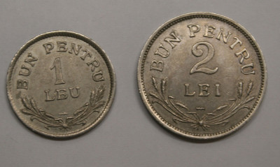LOT 1 LEU & 2 LEI 1924 . POISSY . DETALII EXCELENTE . foto