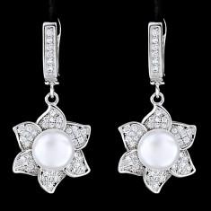 Cercei din Argint 925 cu Perle Naturale si Diamante, Sunflower White