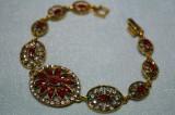 Bratara marcata argint 925 Hurrem TURKISH Gold Filled RUBIN White TOPAZ 20cm