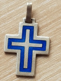 Medalion pandantiv ARGINT MASIV 925 - email albastru - cruciulita pt. lantisor