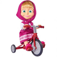Papusa Masha 12 cm, Masha cu Tricicicleta