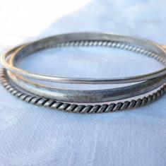 set BRATARI argint MASIV din 3 BRATARI TRIBALE rotunde VECHI patina MINUNATA