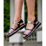 Leather Sandals 40 Metallic Grey