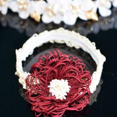 Bentita din dantela cu floare bordo, Universal