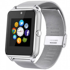 Ceas Smartwatch cu Telefon iUni Z60, Curea Metalica, Touchscreen, BT, Camera, Notificari, Silver