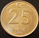 Moneda 25 YENI KURUS - TURCIA, anul 2005   *cod 2309 b --- UNC