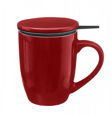 Cana cu infuzor pentru Ceai, 320 ml, Portelan, Rosu foto
