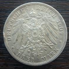(A742) MONEDA DIN ARGINT GERMANIA, PRUSIA - 3 MARK 1909, LIT. A, WILHELM II