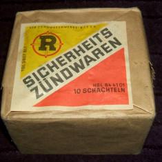 Sicherheits Zündwaren - box sigilat cu 10 cutii de chibrituri din lemn, DDR 1970