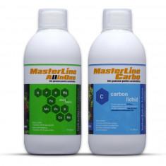 Set complet de fertilizanti pentru plante acvatice MasterLine, All in One + Carbo, 2 x 1000 ml