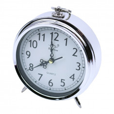 Ceas de masa metalic, 13 cm, Argintiu