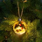 Ornament de pom de Craciun cu LED - alb cald - 8 cm Best CarHome