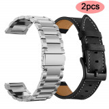 2x Curea ceas 22mm metalica + piele Samsung Galaxy Watch Active 2 Watch 42mm 3