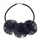 Colier hand-made flori,Tia Accesorii, negru