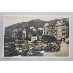 KARLSBAD - DR. BECHERPLATZ , CARTE POSTALA ILUSTRATA , MONOCROMA , CIRCULATA , 1919