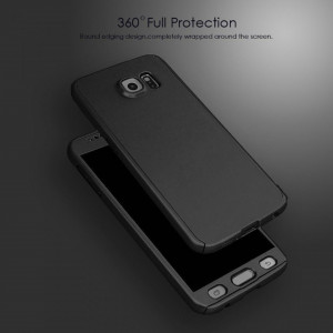 Husa 360 GRADE compatibila SAMSUNG S7 cu Folie de protectie inclusa - BLACK