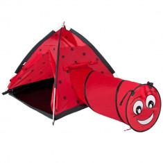 Cort de joaca cu tunel pentru copii Playto Ladybug Rosu