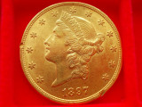 MONEDA AUR  20 dollars 1897  AUR - 900 - ( 21,6 K ), America Centrala si de Sud