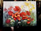 Tablou cu peisaj pictura cu maci rosii, pictura cu peisaj camp cu maci