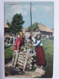 RUSIA IMPERIALA 1912 - TIPURI - PERSONAJE DE EPOCA - PEISAJ RURAL - LA FANTANA, Circulata, Fotografie