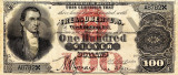 100 dolari 1878 Reproducere Bancnota USD , Dimensiune reala 1:1