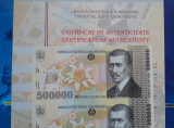 500000 lei 2000 Romania / coala netaiata de 4 bancnote, 500.000 certificat BNR