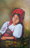 Tablou / Pictura fata cu basma rosie