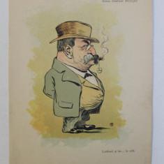 CONU NASTASE STOLOJAN ' LATIFUND SI LAT ... LA CEFA ' , CARICATURA , LITOGRAFIE de pictorul NICOLAE PETRESCU - GAINA 1871 - 1931 , 1898