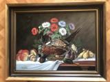 Tablou suedez ,pictura veche in ulei pe lemn,natura statica