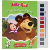 Masha și Ursul. Să pictăm cu Masha. Carte de colorat cu pensulă și acuarele