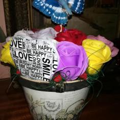 Trandafiri de sapun - Aranjament Love&Smile - OKAZIE