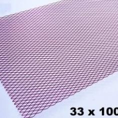 Plasa tuning aluminiu Rosu 100x33 cm