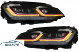 Set 2 faruri LED RHD compatibil cu VW Golf 7 VII (2012-2017) Facelift G7.5 GTI Look cu Semnal Dinamic