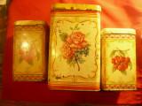 Set 3 cutii tabla AMT Timisoara anii '50-desene florale dim.=13x22 si 2- 10x17cm