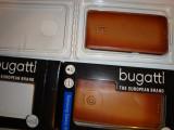 Husa Bugatti handmade din piele pentru telefon Samsung Galaxy S6, Maro