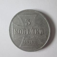 Rară! 3 Kopeici 1916 J ocupatia germană din Rusia,Polonia si țările Baltice WW I