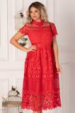 Rochie Izabela rosie lunga din dantela cu insertii din tull si satin