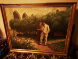 Tablou autentic Ady Endre cu sotia Csinska la castelul Boncza, Portrete, Ulei, Impresionism