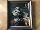 Tablou,pictura veche englezeasca in ulei e panza,portret