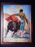 Cumpara ieftin Tablou, Pictura ulei pe panza corrida vechi, rama din lemn ,mare 116 x 93cm, 6kg, Scene lupta, Impresionism