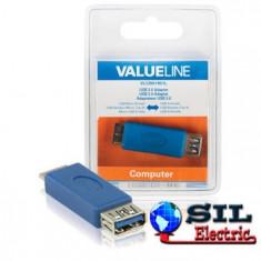 Adaptor USB 3.0, Micro USB B tata - USB A mama, albastru