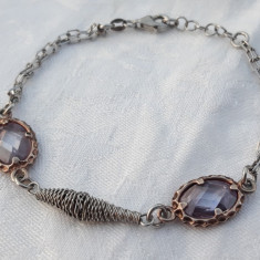 BRATARA argint cu AMETISTE MOV in montura argint AURIT de efect SPLENDIDA LUX