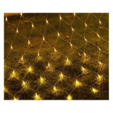 Instalatie de Craciun, 1,5 m x 1,5 m Plasa, Alb Cald, 120 leduri, plasa luminoasa, led, 6007WW