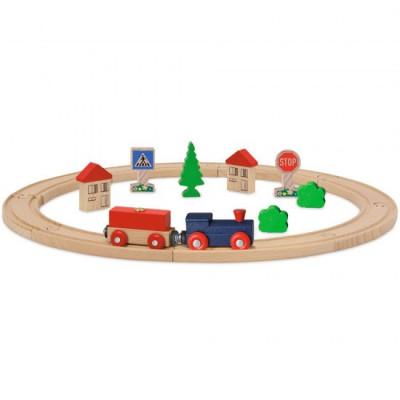 Set din lemn Eichhorn Tren albastru cu sina circulara si accesorii foto