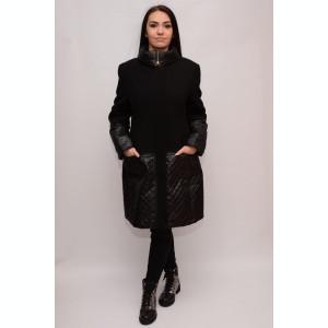 Palton modern de culoare neagra combinat cu fas