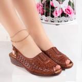 Sandale dama cu platforma maro Adalie