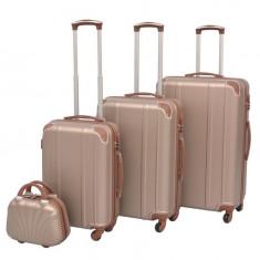 Set de valize trollere, culoare șampanie, 4 buc.