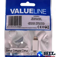 Adaptor USB lightning tata micro USB mama, alb